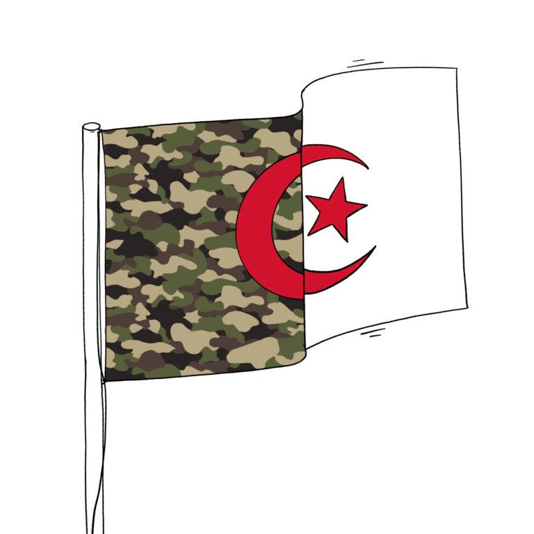 salim-zerrouki-caricature-hirak-algerie-flag-military